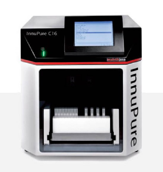 = InnuPure C16 = | Automated DNA Isolation | AnalytikJena - InnuPure(r) C16 | Flexible & efficient extraction system | Completely automated & compact | Up to sixteen samples in parallel | Isolation of very pure nucleic acids | Suitable for a wide variety of starting materials, including forensic samples | Pre-programmed protocols | Adsorption of the isolated material onto magnetic or paramagnetic particles | Automatic transfers of eluates into Elution Tubes with caps | Easy & convention to use thanks to the portable HID-Pro 320 user interface | No cross-contamination | Highly reproducible | Fast, reliable & efficient |